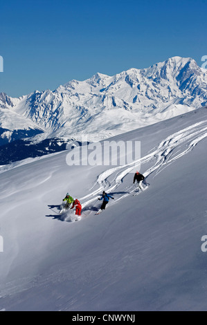 ski off piste, on the back the mont Blanc, France - Stock Photo