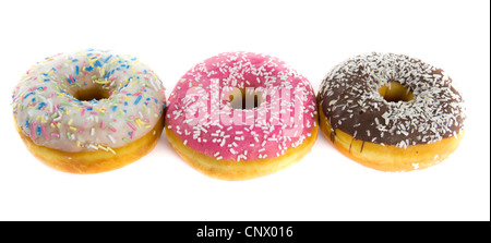 Picture of three donuts with chocolate, strawberry and vanilla frosting - Stock Photo