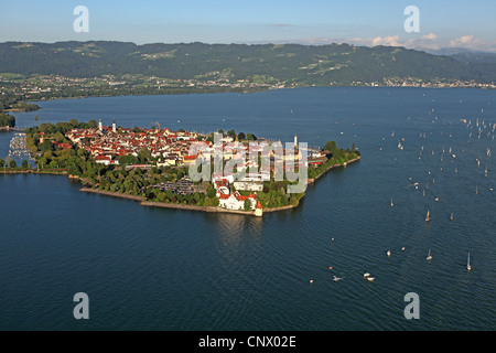 Lindau Island in evening light, Germany, Bavaria, Lake Constance, Lindau - Stock Photo