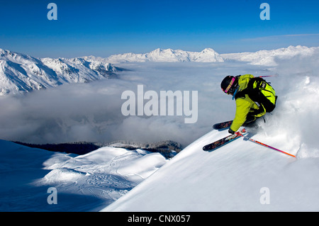skier in Sainte Foy Tarentaise ski resort, north Alps mountains, France - Stock Photo