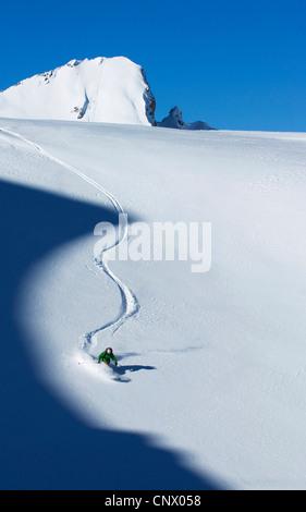 ski in Tignes ski resort, France - Stock Photo
