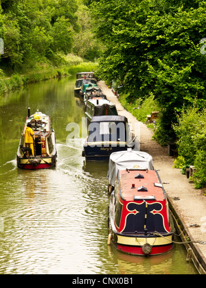Narrowboats near Pewsey Wharf on the Kennet and Avon Canal in Wiltshire, England, UK - Stock Photo