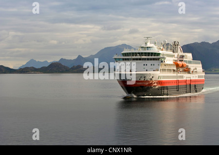 Norwegian Coastal Voyage, Hurtigruten vessel Finnmarken near Ornes - Stock Photo