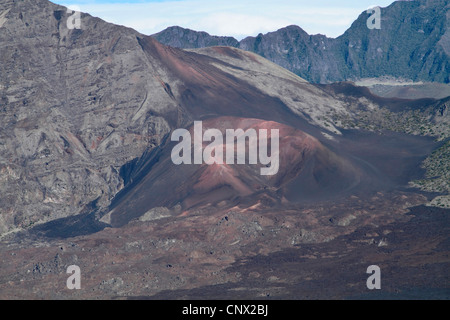 volcanic cone in the crater of Haleakala, USA, Hawaii, Maui - Stock Photo
