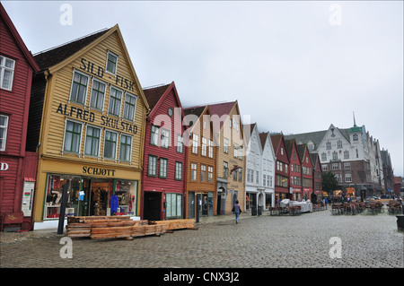 Famouse houses at Bergens Brygge in western part of Norway - Stock Photo