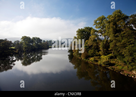Ruhr river in morning mood in autum, Germany, North Rhine-Westphalia, Ruhr Area, Wetter/Ruhr - Stock Photo