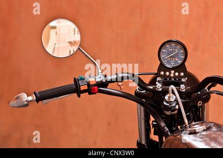 A close up of vintage motorbike, Vasto, Italy - Stock Photo