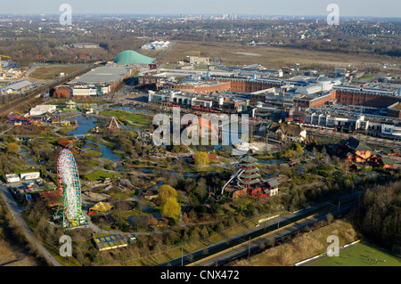 view from gasometer Oberhausen of CentrO, centro park in the foregrund, Germany, North Rhine-Westphalia, Ruhr Area, - Stock Photo