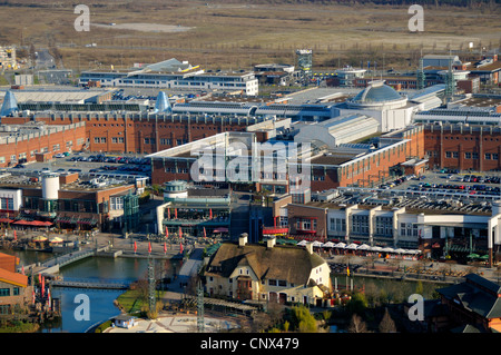 view from gasometer Oberhausen of CentrO, centro promenade in the foregrund, Germany, North Rhine-Westphalia, Ruhr - Stock Photo