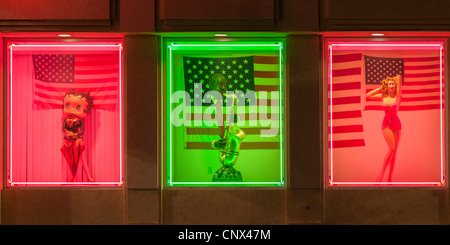 Neon lit window display, Hollywood, Los Angeles - Stock Photo