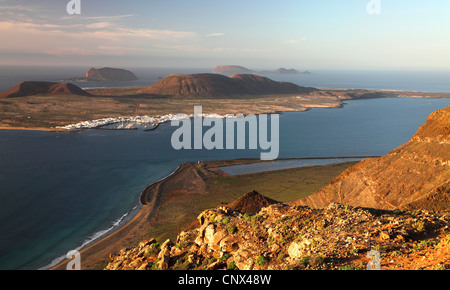 view from Lanzarote to La Graciosa, Canary Islands, Lanzarote - Stock Photo