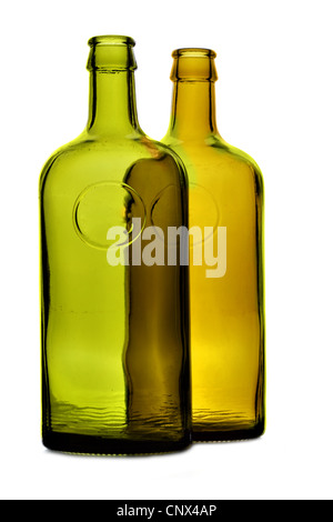 Two bottles close-up isolated over white background - Stock Photo