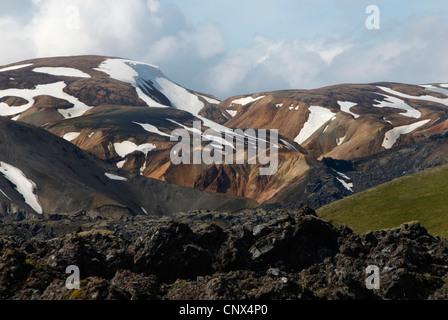 landscape with cooled down of stream of lava, Iceland, Fjallabak National Park, Landmannalaugar - Stock Photo