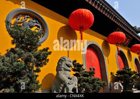 The facade of the main pavillion of the Jade Buddha Temple, Shanghai, China - Stock Photo