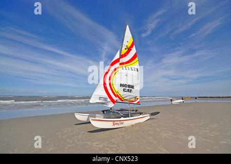 catamaran on the sand beach, Germany, Lower Saxony, East Frisia - Stock Photo