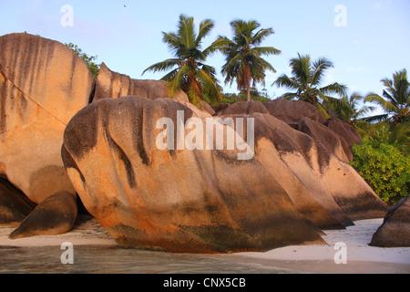 granite formation on the beach Anse Grande Source, Seychelles, La Digue Stock Photo