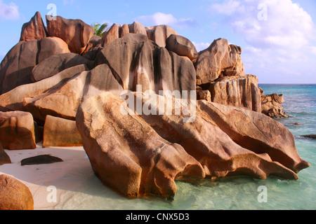 granite formation on the beach Anse Coco, Seychelles, La Digue - Stock Photo