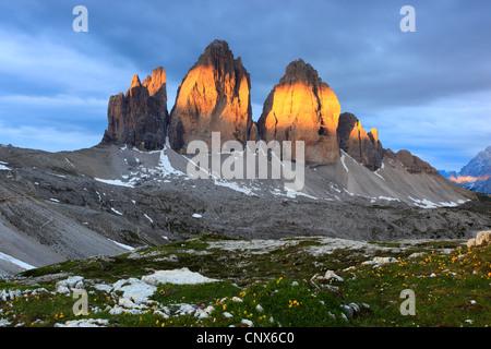impressive mountain formation 'The Tre Cime di Lavaredo' ('Three Peaks' / 'Big Peak' 2999 m) in the morning light, - Stock Photo