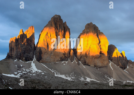 The Tre Cime di Lavaredo in the morning light, Italy, South Tyrol, Dolomites - Stock Photo