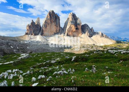 impressive mountain formation 'The Tre Cime di Lavaredo' ('Three Peaks' / Big Peak 2999 m), Italy, South Tyrol, - Stock Photo
