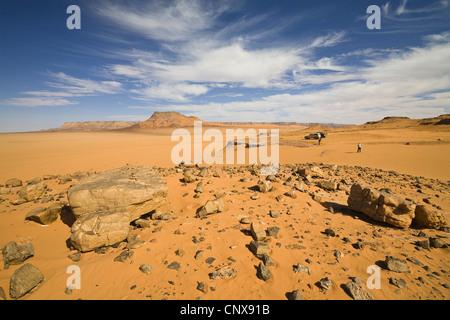 mountain range Tadrart Acacus in the desert, Libya, Sahara - Stock Photo