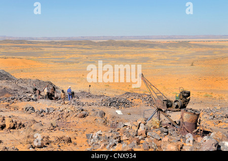 mining of lead sulfide in the desert, Morocco - Stock Photo