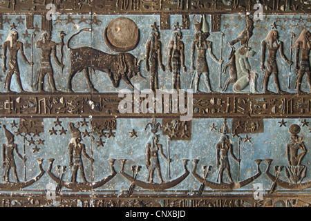 Astronomical ceiling in the Temple of Hathor in Dendera, Egypt. - Stock Photo