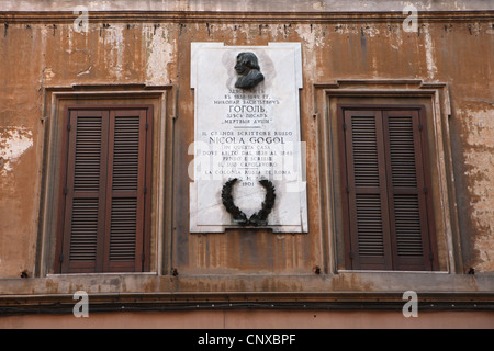 Commemorative plaque to Russian writer Nikolai Gogol at Via Sistina in Rome, Italy. - Stock Photo