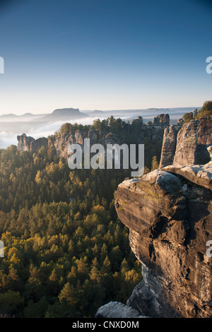 The Bastei in the morning, Elbe Sandstone Mountains, Saxon Switzerland National Park, Germany - Stock Photo