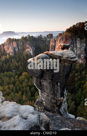 The Bastei in the morning, Elbe Sandstone Mountains, Saxon Switzerland, Germany - Stock Photo