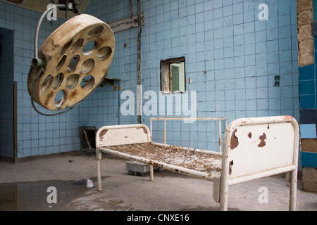 A room in an old abandoned hospital, Beelitz-Heilstaetten, Germany - Stock Photo