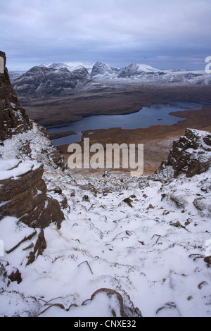 view from Stac Pollaidh over Loch Lurgainn towards Ben Mor Coigach, United Kingdom, Scotland, North-west Scotland - Stock Photo