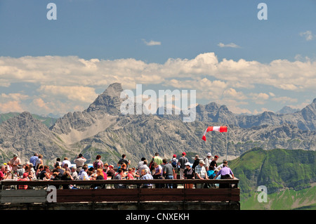tourists at mountain station of Nebelhornbahn at Nebelhorn 2224 m, Hochvogel 2592 m in the background, Germany, - Stock Photo