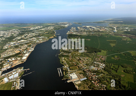 view to town an river Warne, Baltic Sea in background, Germany, Mecklenburg-Western Pomerania, Rostock - Stock Photo