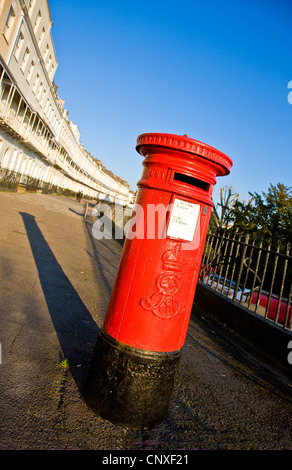 GR post box on the elegant Royal York Crescent in Clifton Bristol UK - Stock Photo