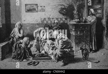 Backgammon players in an Egyptian cafe, historical engraving, 1883 - Stock Photo