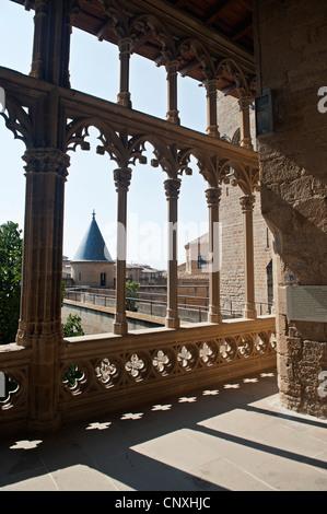 The Palacio de los Reyes de Navarra de Olite ('Palace of the Kings of Navarre of Olite') or Castillo de Olite ('Castle - Stock Photo