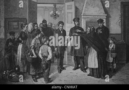 Criminal being captured, historical engraving, 1883 - Stock Photo