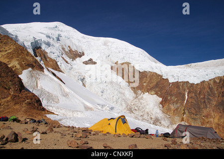 view from Illimani High Camp, Bolivia, Andes, Cordillera Real - Stock Photo