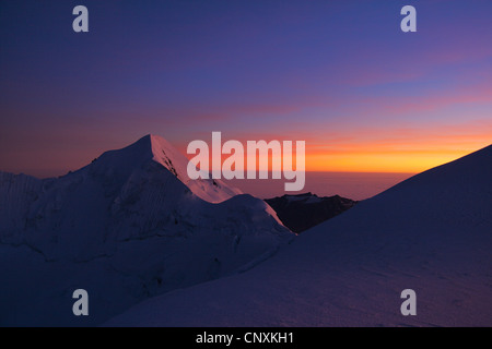 sunset at Illimani, Bolivia, Andes, Cordillera Real - Stock Photo
