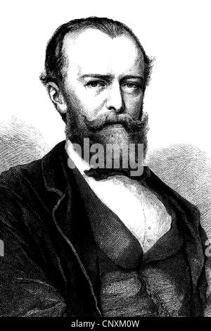 Julius Wolff, 1834 - 1910, a German poet and writer, historical engraving, 1883 - Stock Photo