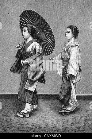 Japanese woman's lives, woman with a servant in the street, historical engraving, 1883 - Stock Photo
