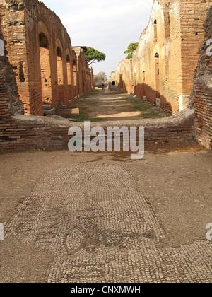 Street scene in Ostia Antica,Rome - Stock Photo