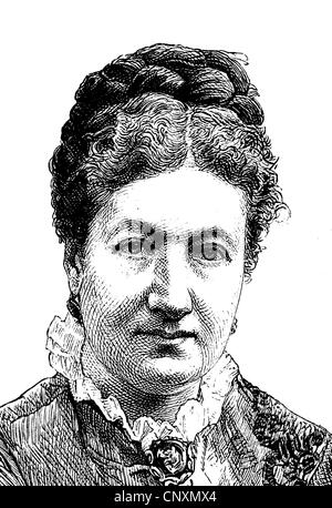 Marie Calm, pseudonym Marie Ruhland, 1832 - 1887, a German writer, educator and feminist, historical engraving, - Stock Photo