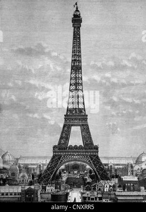 The Eiffel Tower in 1888, Paris, France, historical engraving, 1888 - Stock Photo