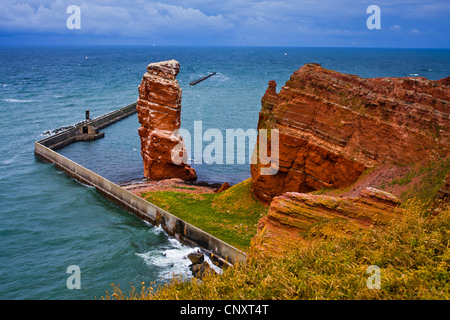 red rock coast with the rock needle 'Lange Anna', Germany, Schleswig-Holstein, Heligoland - Stock Photo