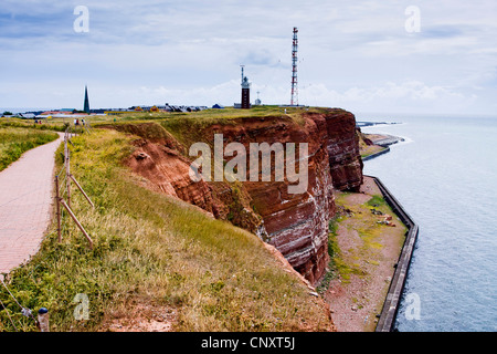 view along the red rock coast, Germany, Schleswig-Holstein, Heligoland - Stock Photo
