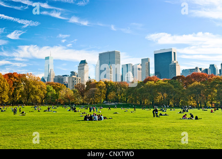 Central Park Sheep Meadow New York Autumn - Stock Photo
