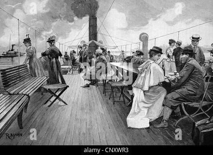 On the deck of a steamboat, Lake Constance, historic wood engraving, about 1897 - Stock Photo