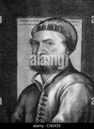Hans Holbein the Younger, 1497 - 1543, a German painter, historic wood engraving, about 1897 - Stock Photo